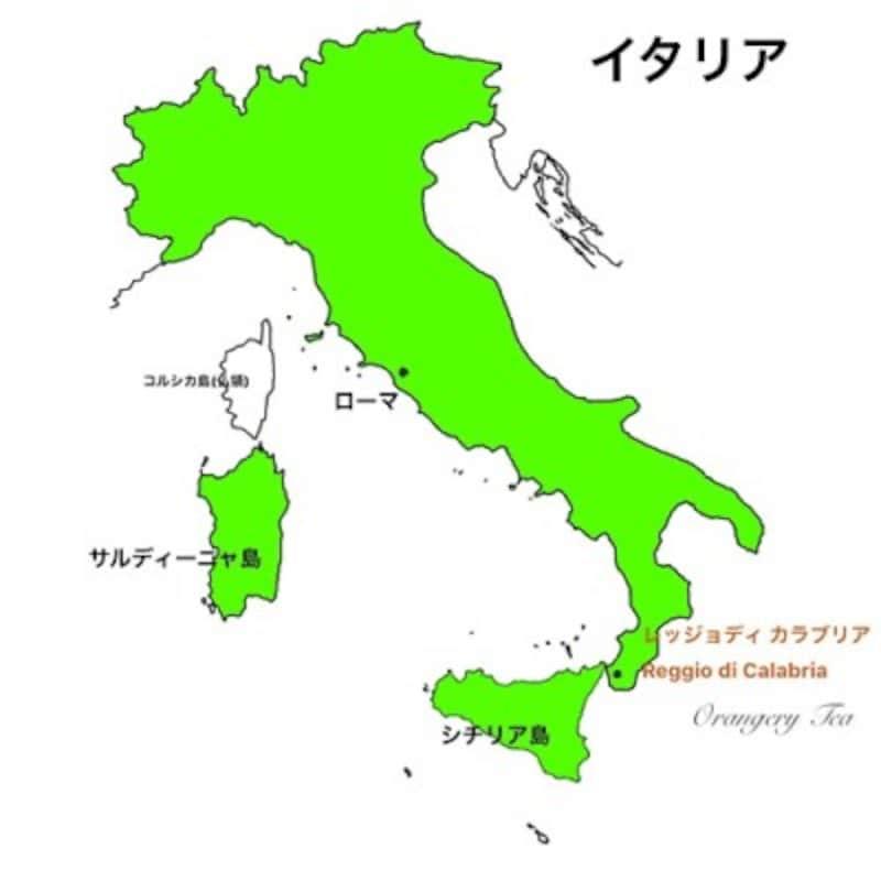 ブーツ型をしたイタリア地図、その先端部分がカラブリア州。高品質のベルガモットがここで生産されます