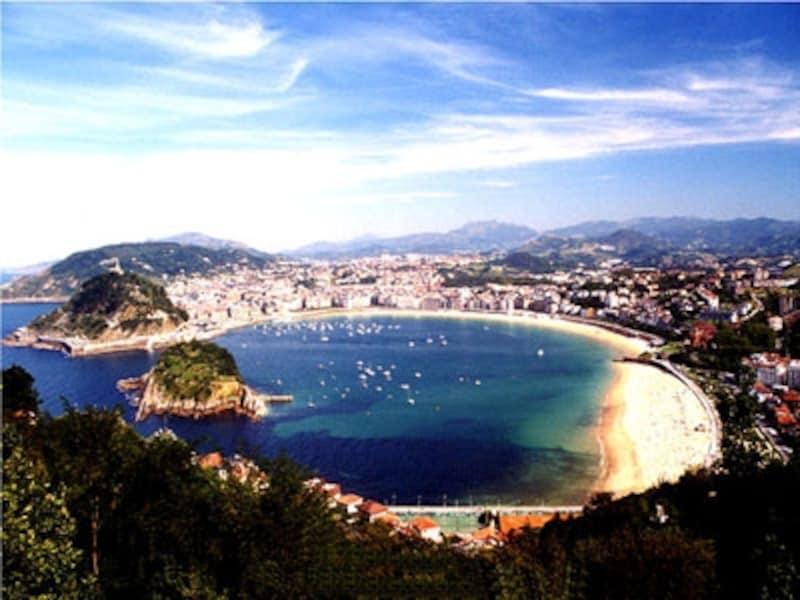 夏は海水浴客で賑わうバスク地方の人気都市、サン・セバスティアンのコンチャ海岸。