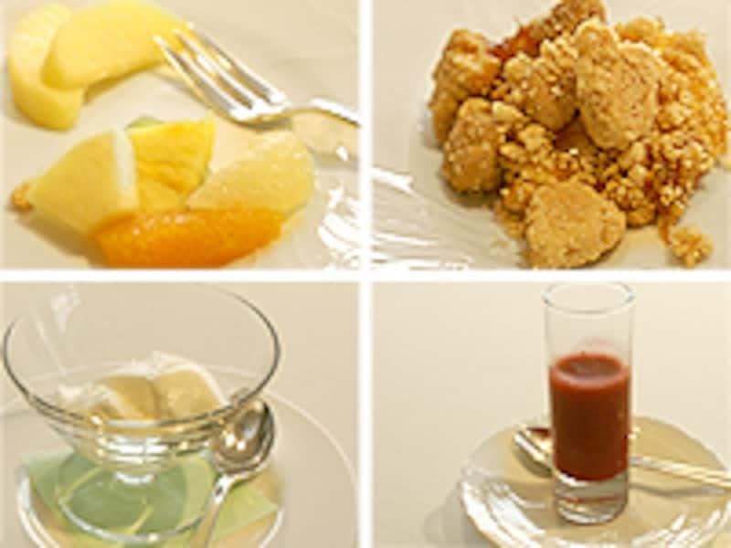 おすすめはハーブのきいたブランマンジェと、イチゴとペッパーのスープ。
