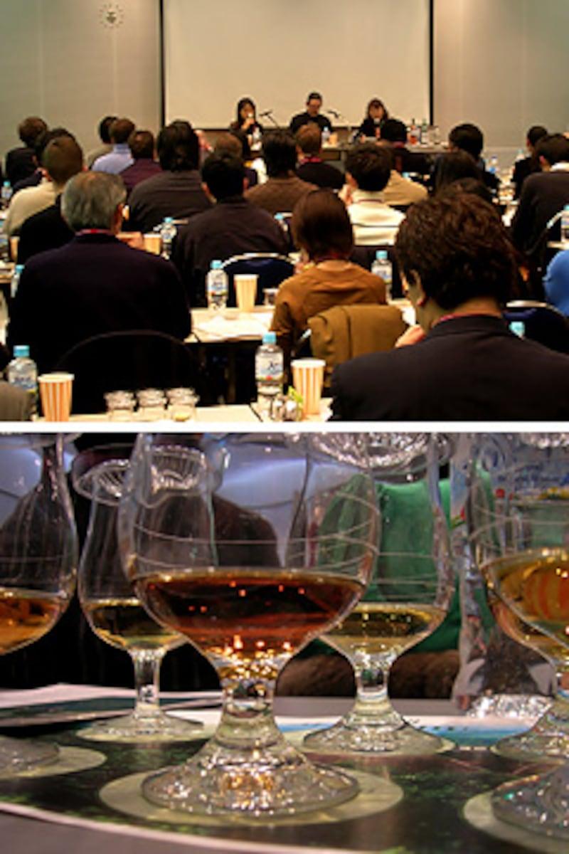 上/ウイスキーとチョコのセミナー。下/白州セミナーのモルト