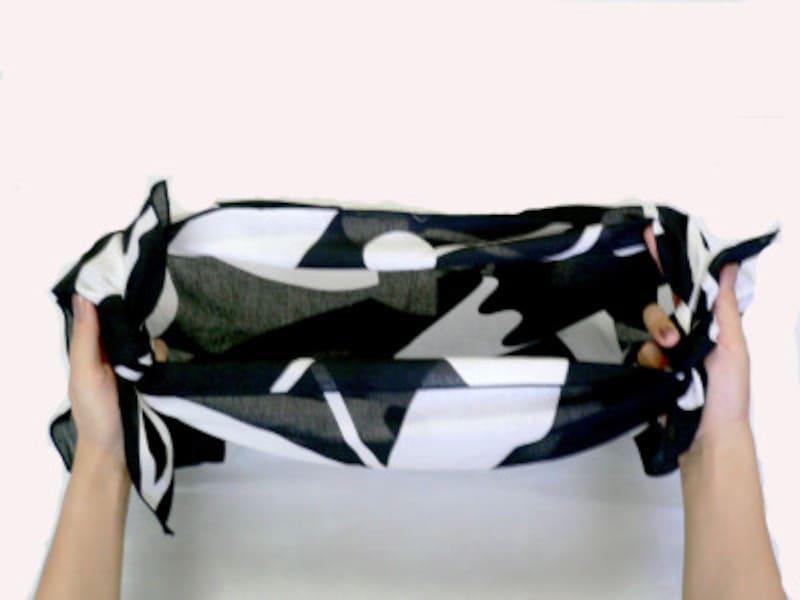 風呂敷のエコバッグ、マイバッグはとても、結び方も簡単!