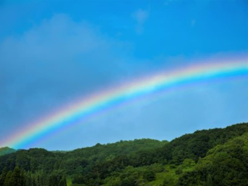 「朝虹は雨、夕虹は晴れ」虹は太陽を背にしてできます。朝の虹は西のほうで降る雨に東から太陽があたってできるため、やがて東のほうで雨になる前兆。夕方の虹はこの逆で、雨は既に去っており晴れの前兆…という日本のことわざです