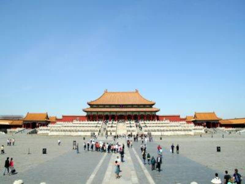 故宮の正殿・太和殿。中国に現存する最大の木造建築。