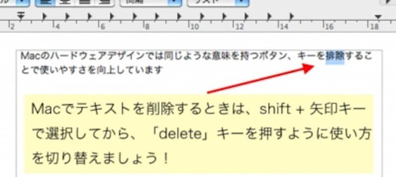 """テキストを選択状態にしてから削除するか、削除したい文字の""""うしろ""""にカーソルを置いて「delete」キーを押すのがMac流。これは削除する意味合いの「Del」キーと「BS」キーを1つにまとめるという効果があり、慣れれば使いやすくなります(クリックで拡大)"""