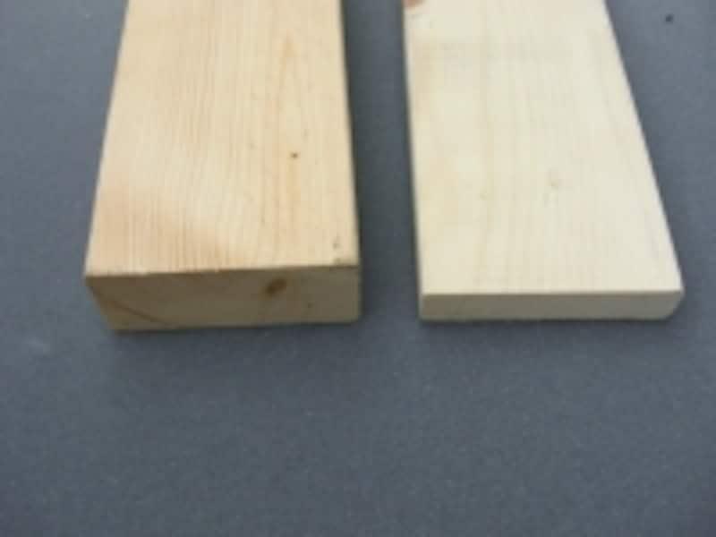 木材のサイズ:左から2×4材、1×4材
