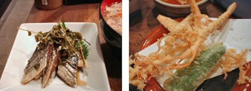 <にしんづけはお酒のつまみにgood=左><季節の天ぷら。本日は朝鮮人参=右>