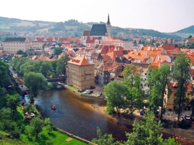 チェスキー・クルムロフ城から見た旧市街