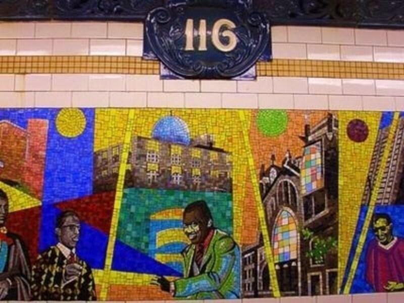 116丁目駅構内にあるタイル絵にはハーレムの象徴が描かれています