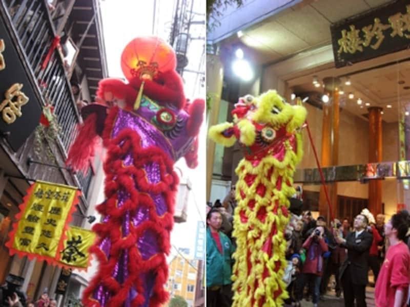 採青のようす。中国獅子が伸び上がって、2階からつるされたご祝儀をパクリ!(2008年撮影)