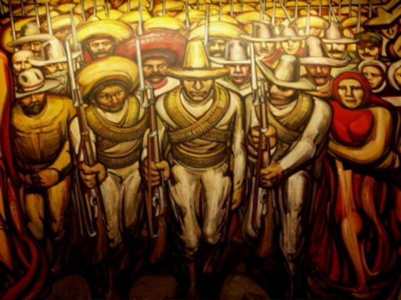 チャプルテペック城の一室にあるシケイロスの傑作『人類の行進』