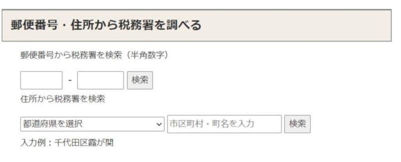 郵便番号・住所から税務署を調べる検索画面 (出典:国税庁ホームページより)