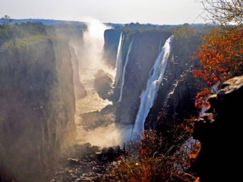 ザンビア側から眺めたヴィクトリアの滝