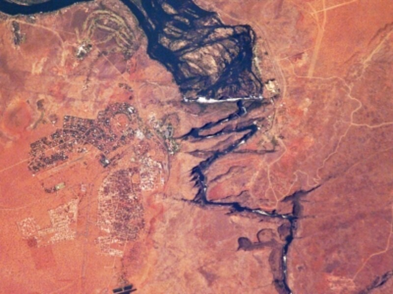 上空から眺めたヴィクトリアの滝