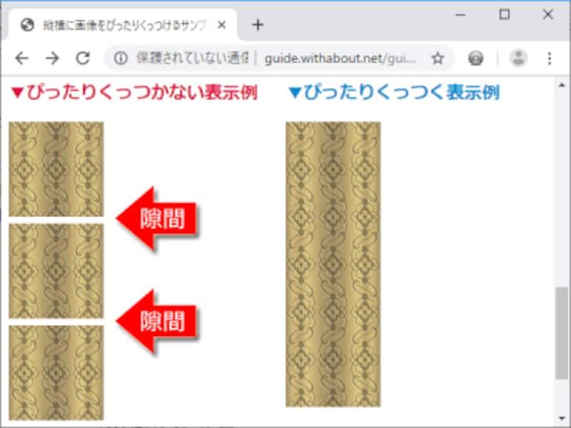 画像を縦方向に隙間なく並べたい場合:ぴったりくっつかない例(左側)と、ぴったりくっつく例(右側)
