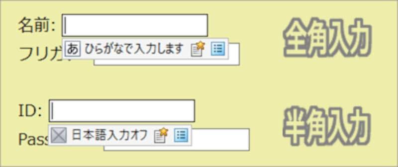 テキスト入力欄にカーソルが入った瞬間に、日本語入力機能の入力方式(IMEモード)が自動で切り替わる例 ※この図はIMEとしてATOKが使われている環境での表示例