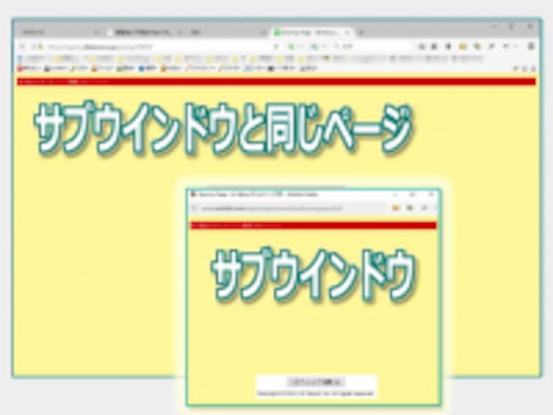 サブウインドウが表示されても、親ウインドウ側でも同じページに移動してしまう