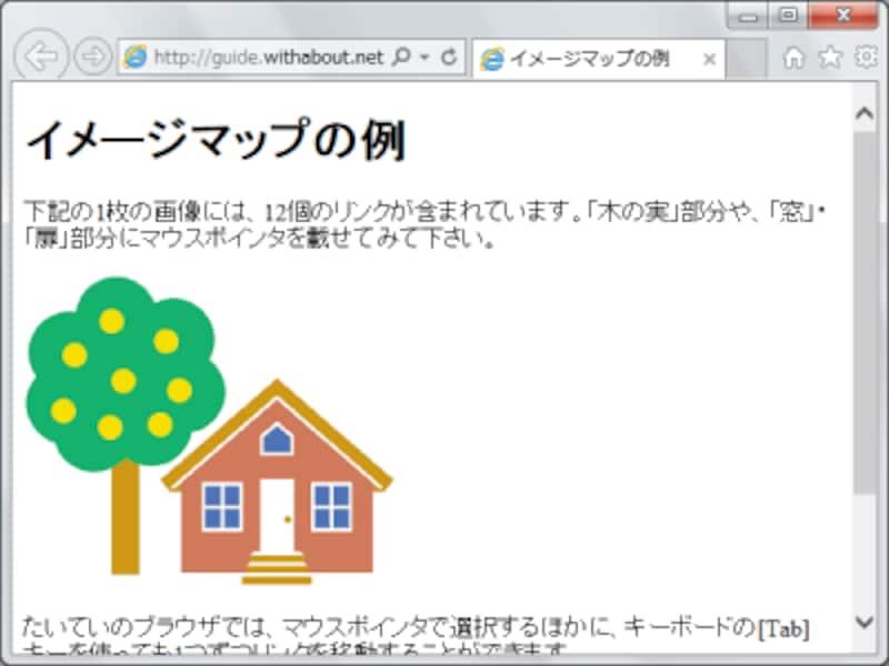 イメージマップを使ったサンプルページの表示例