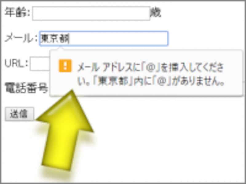 入力内容がメールアドレスでない場合は警告される(Chromeでの表示例)