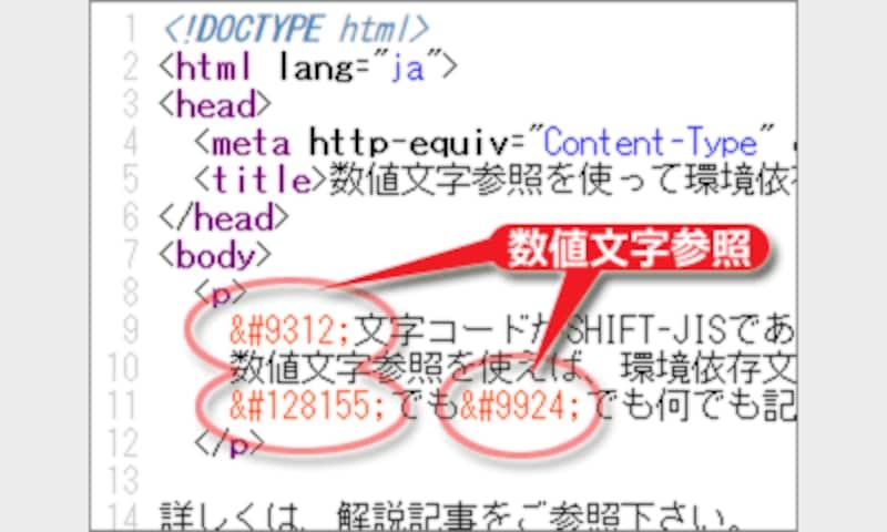 HTMLソースの中に数値文字参照を記述した例