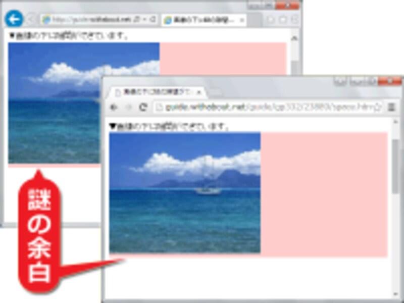 どんなブラウザでも、画像の下に隙間ができる