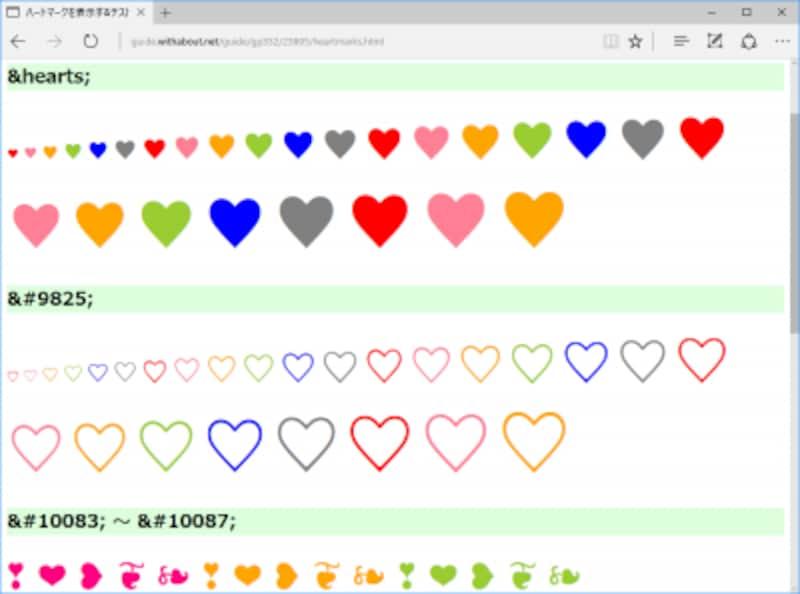 ハート記号はUnicodeで絵文字として定義されているので、HTML中に書いたハート記号の色やサイズはCSSで装飾できる (Edgeでの表示例)