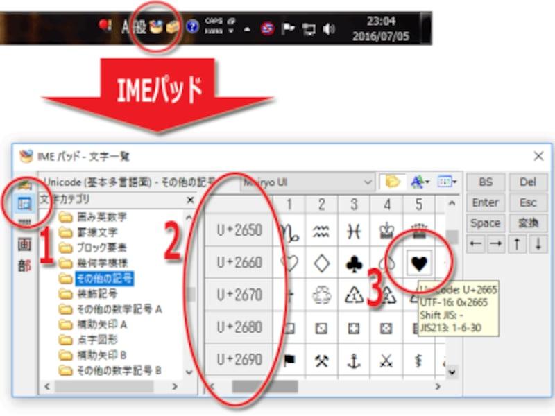 MS-IMEの文字一覧機能を使うハート記号の出し方