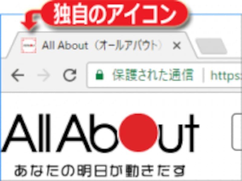 ブラウザのタブに、ウェブサイト独自のアイコンが表示されている