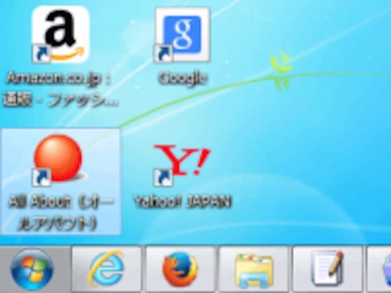 ウェブサイトへのショートカットをデスクトップ上に置いた際にもファビコンが使われる