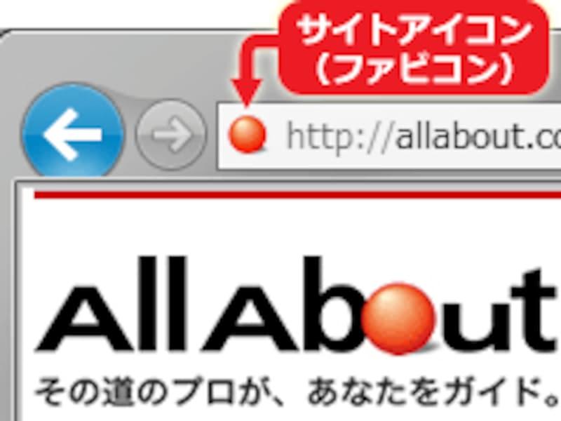 アドレスバーの端に表示される、サイト独自のアイコン「ファビコン」