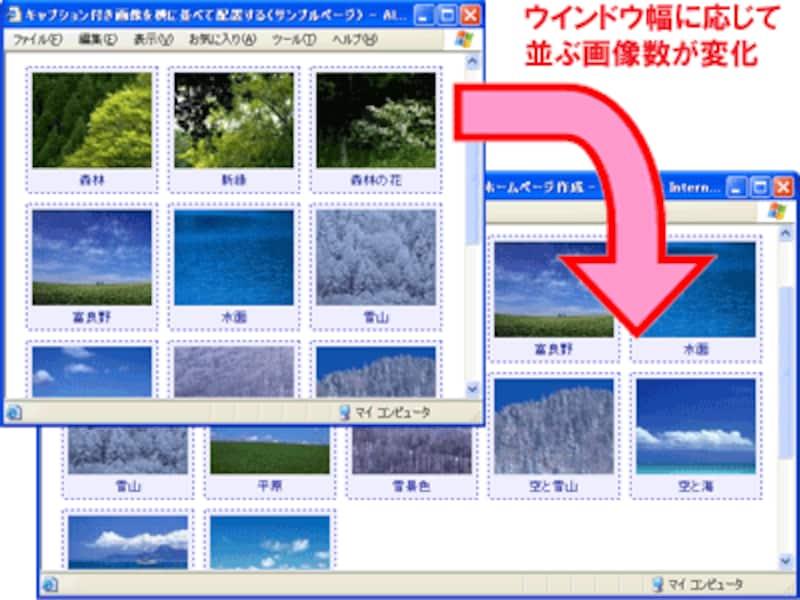 キャプション付き画像を横方向にリキッドレイアウトで並べる例
