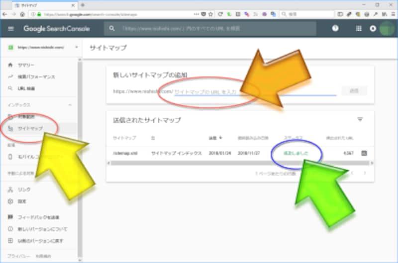 Google Search Consoleには、サイトマップXMLファイルのURLを送信して登録する機能がある
