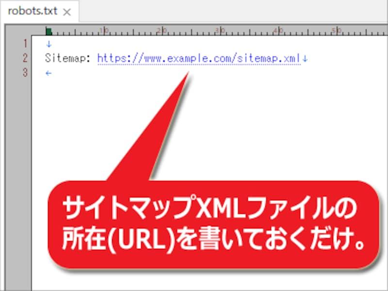 サイトマップXMLファイルの所在だけを記述したrobots.txtファイルの例