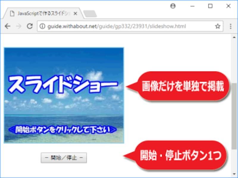 表示画像を切り替えるだけのシンプルなスライドショー機能の表示例