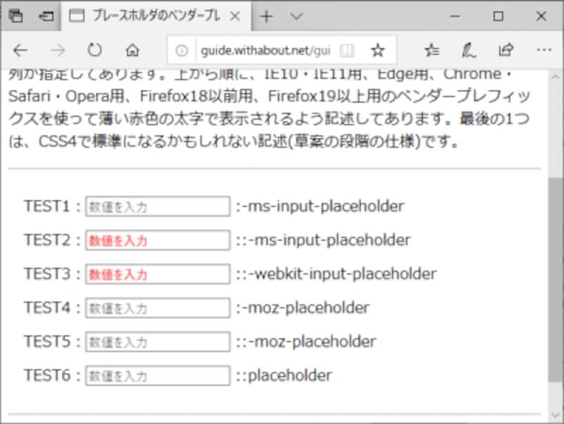 プレースホルダのベンダープレフィックス別装飾テスト:EdgeではWebkit用の記述も有効になっていることが分かる