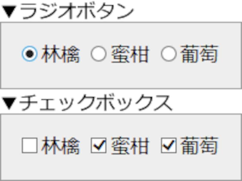 ラジオボタンとチェックボックスの表示例
