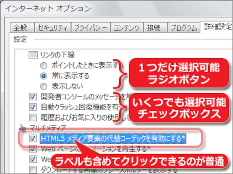 PC上で使われる一般的なチェックボックスやラジオボタンは、ラベル(文字)部分もクリック可能なので押しやすい