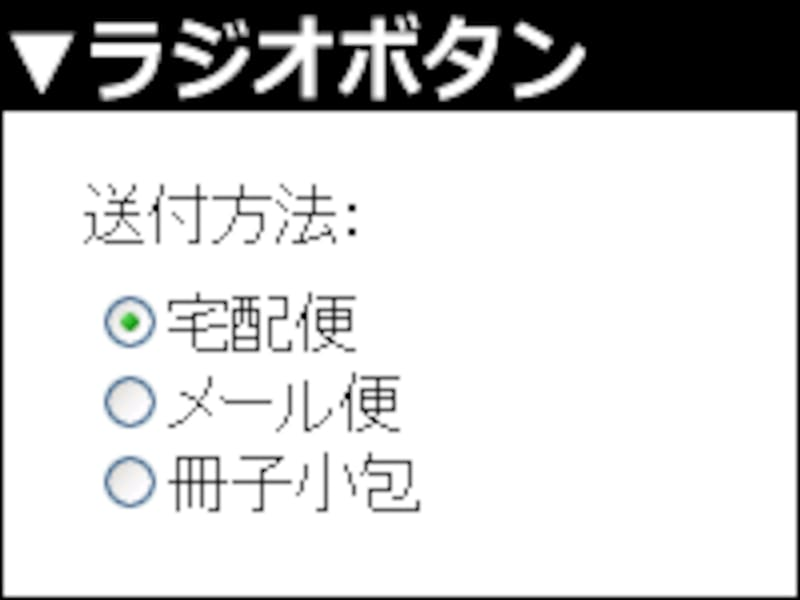 ラジオボタンは、複数の選択肢から1つだけを選択できるUI