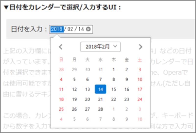 日付をカレンダーから選ぶこともできるし、直接数値で入力することもできる、日付入力専用フォームの表示例(Firefoxでの表示例)