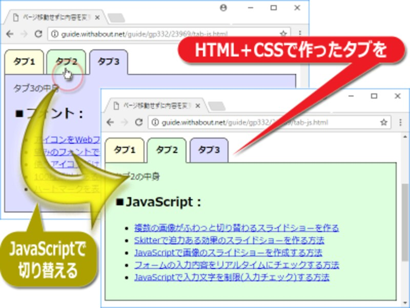 ページ移動することなく表示内容を切り替えられるタブ機能の例