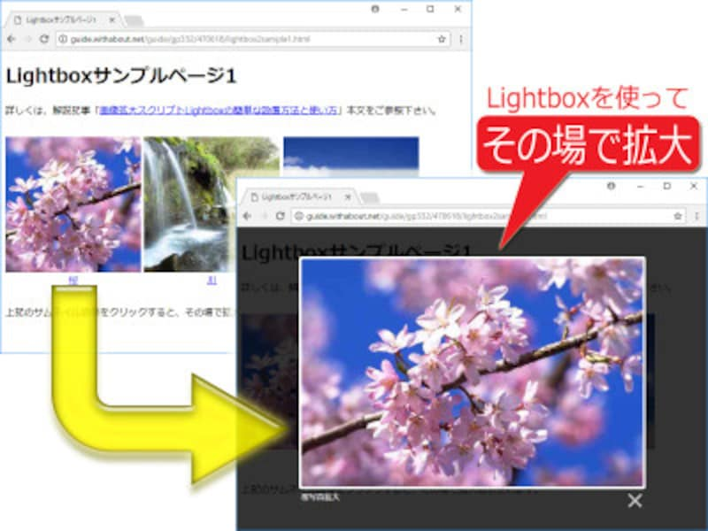 画像クリックでその場に拡大画像を表示できる定番スクリプトLightbox2