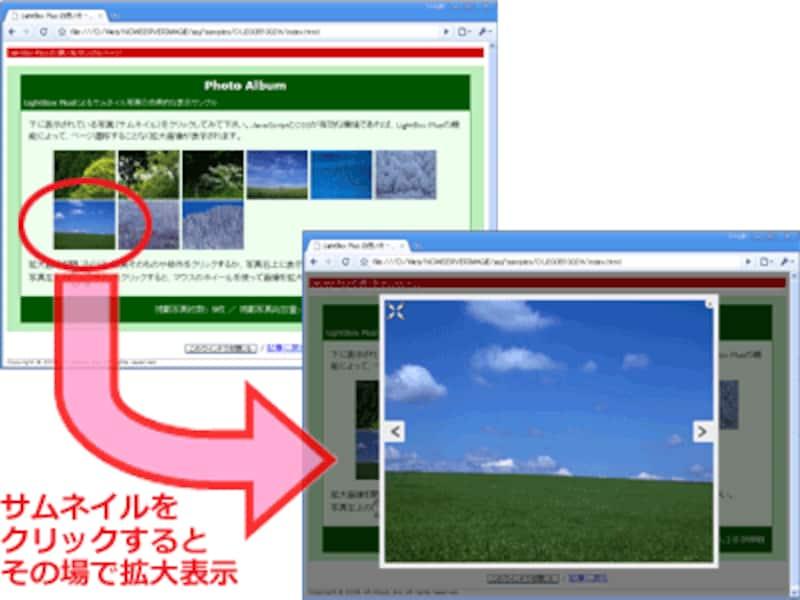 ページ移動せず、ポップアップウインドウも出さず、その場で拡大画像を表示できるLightbox系のJavaScriptが便利