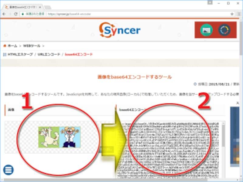 (1)ローカルにある画像ファイルを指定すると、(2)その瞬間にBase64でのエンコード結果が表示される