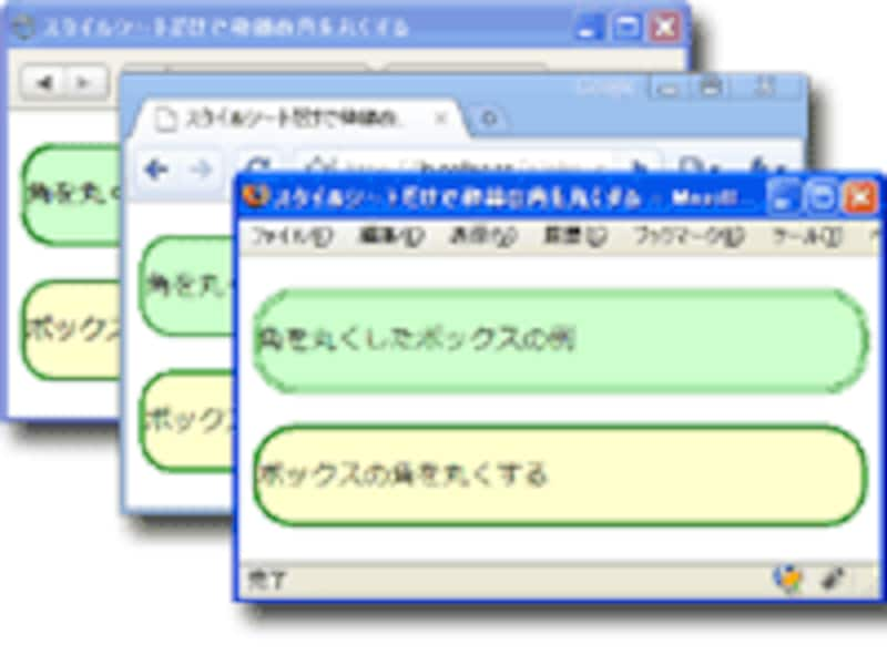 CSS3の「border-radius」プロパティは、Firefox、Safari、Chromeなど多くのブラウザでかなり前から使用可能。IEでは、IE9から使用可能。
