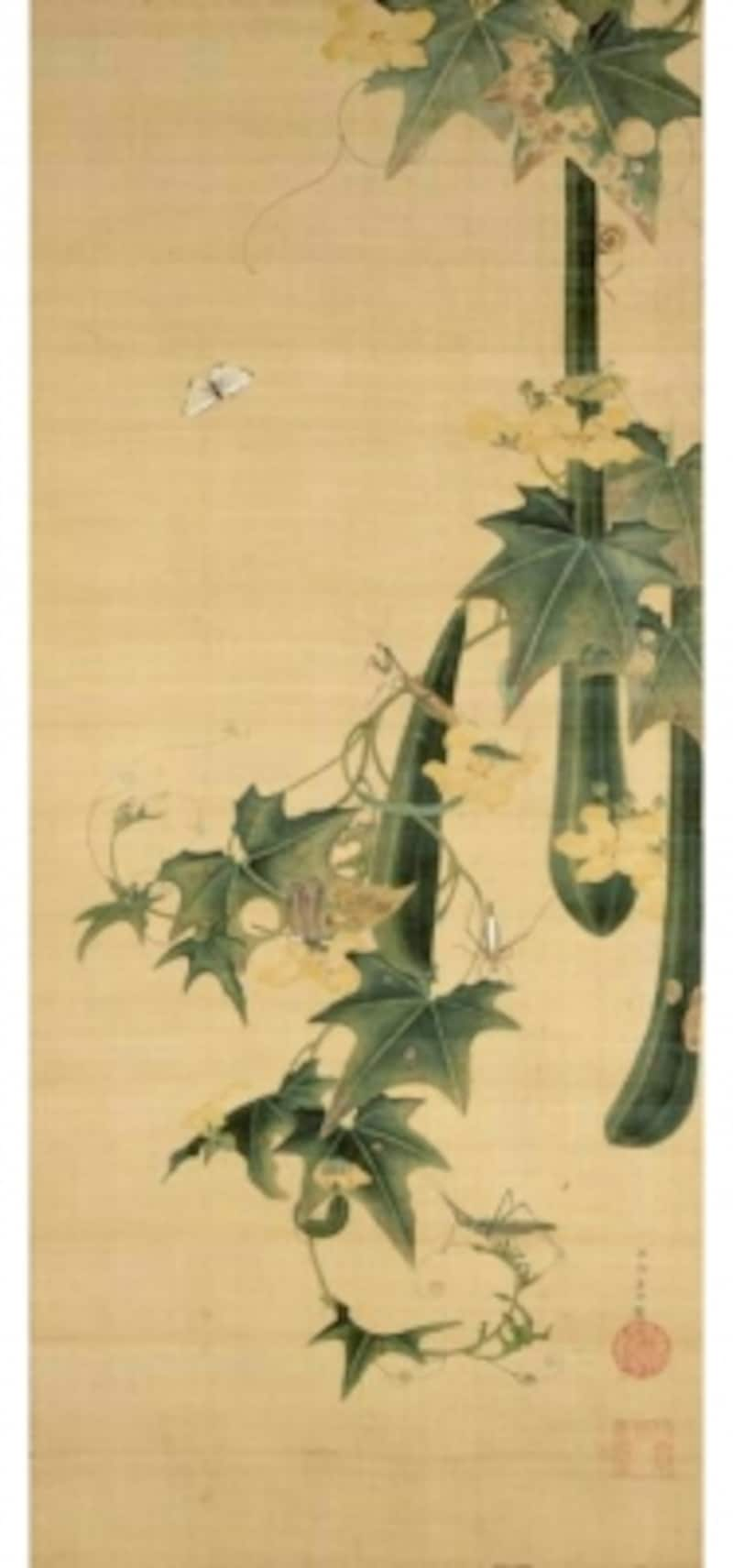 伊藤若冲undefined糸瓜群虫図