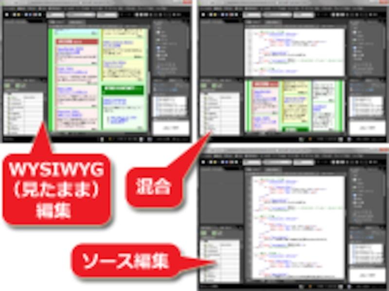 自由なソース編集機能を備えたホームページ作成ソフトもある