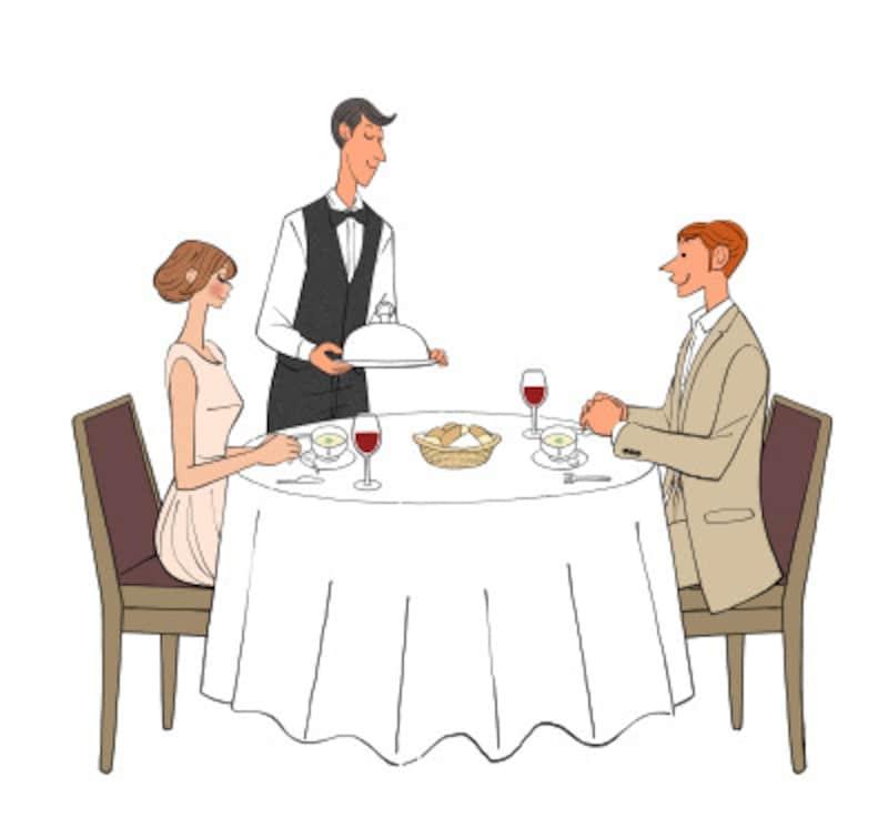 海外旅行先のレストランでは店員さんと英語でコミュニケーションを図る