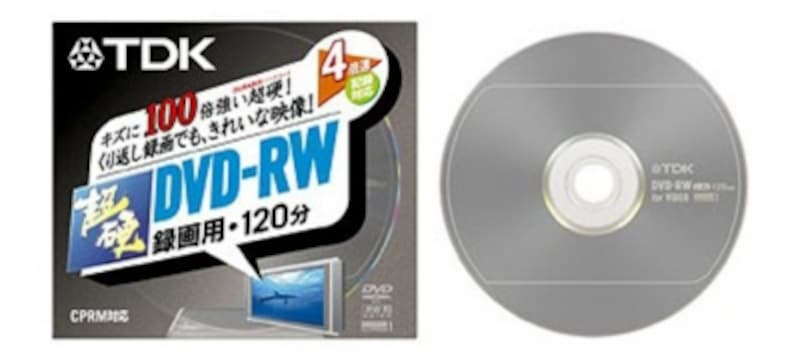 どんな高速メディアを使っても、地デジダビングでは常に1倍速になり、その高速性が無意味になってしまう。写真はTDK製CPRM対応4倍速対応DVD-RWメディア。4倍速対応だが、当然、地デジダビング速度は1倍速になる