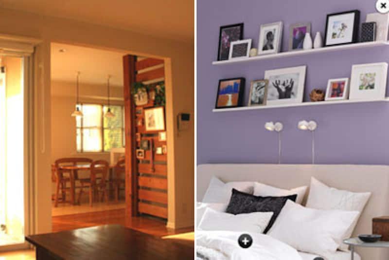 左:リビングからも見える壁を利用して飾るコーナーに。壁面もこれくらいのスペースだと扱いやすい。観葉植物を合わせてナチュラル感たっぷりの素敵な飾り方。(画像:Sunny*Side)右:広い壁に、奥行きの浅い棚を設けて写真などのディスプレイスペースに。スペースにメリハリ感が生まれて、壁面に掛けるより飾りやすいのでは。(画像:IKEA)