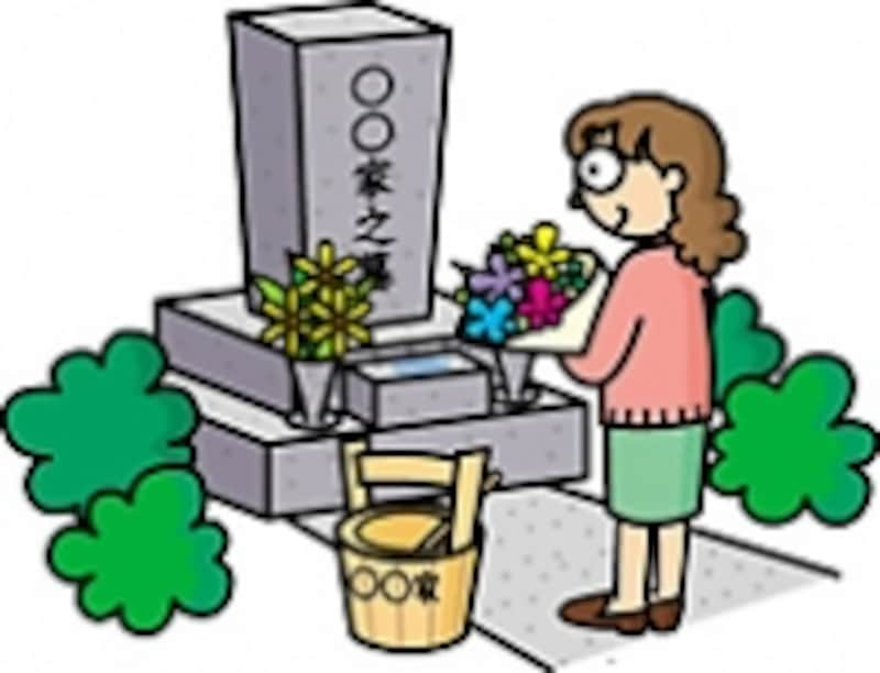 お墓参りをする女性のイラスト