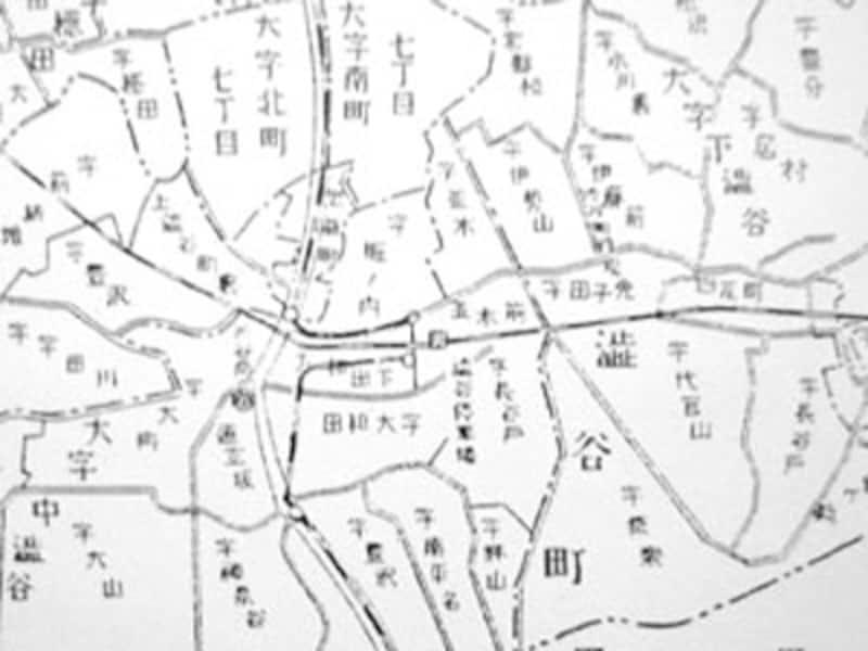 古い地名が記載された地図